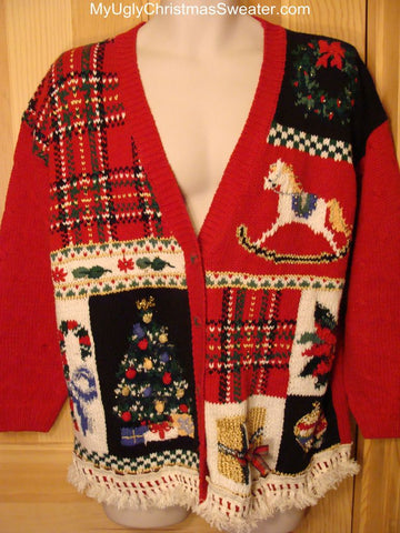Ugly Christmas Sweater with Rocking Horse, Candy Cane, Tree, and poinsettias
