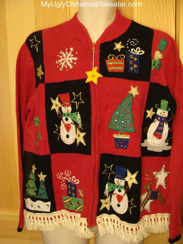 Ugly Christmas Sweater with Snowmen and Trees