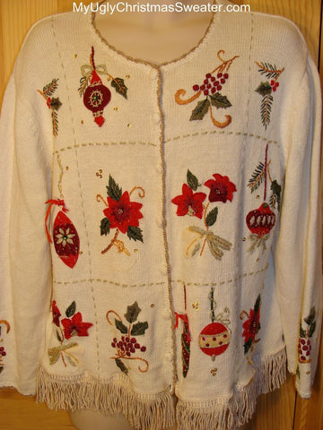 Ugly Christmas Sweater poinsettias and Ornaments
