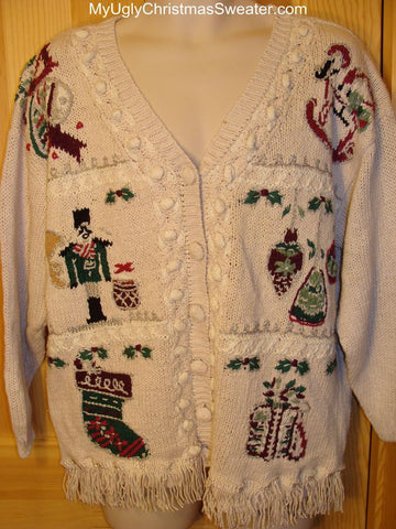 Ugly Christmas Sweater 80s Vintage Nutcracker and Ornament Designs