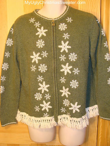 Ugly Green Christmas Sweater with Snowflakes