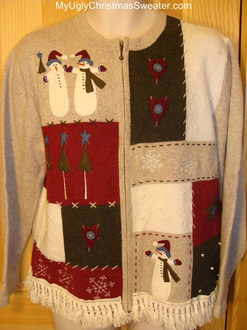 Ugly Christmas Sweater Snowmen with Fringe