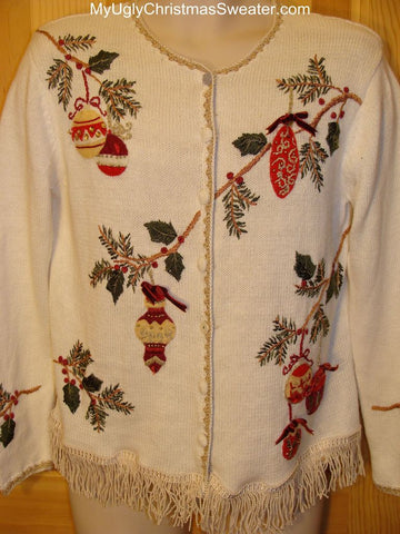 Ugly Christmas Sweater Holiday Branches with Ornaments