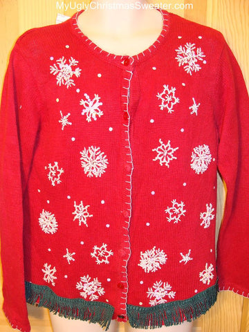Ugly Red Christmas Sweater with Snowflakes