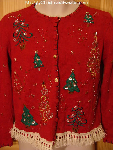 Ugly Christmas Sweater with Bling Trees