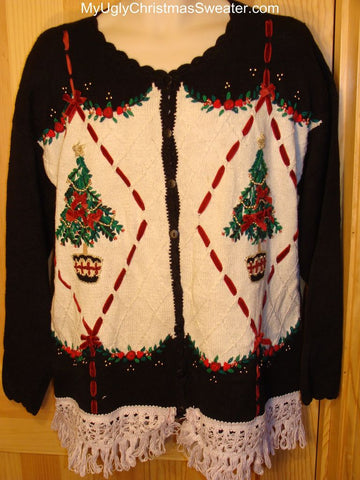 Ugly Christmas Sweater 80s Style Bling Trees