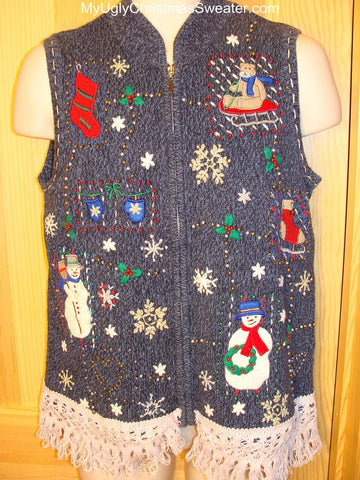 Ugly Christmas Sweater Vest with Snowmen and a Bear