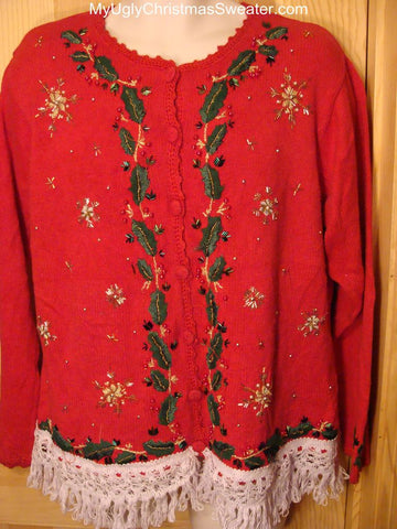 Ugly Christmas Sweater with Bling Beadwork
