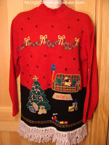 Ugly Christmas Sweater NOEL Home Scene