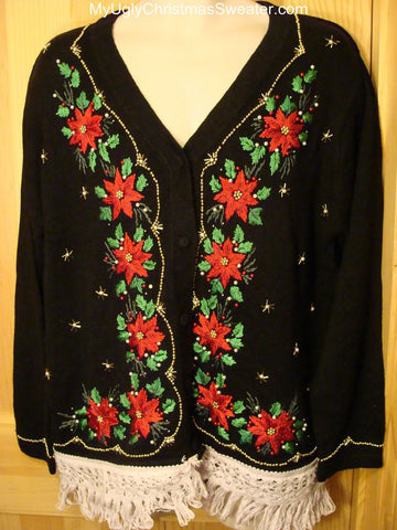 Ugly Christmas Sweater with Bling Beadwork poinsettias