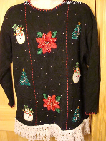 Ugly Christmas Sweater with Bling poinsettias and Snowmen