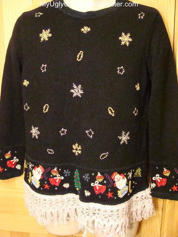 Ugly Christmas Sweater with Random Decorations on Hem and Cuffs