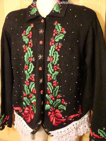 Ugly Christmas Sweater with Bling Ivy and Bows