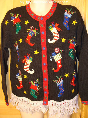 Ugly Christmas Sweater with Scary Stockings
