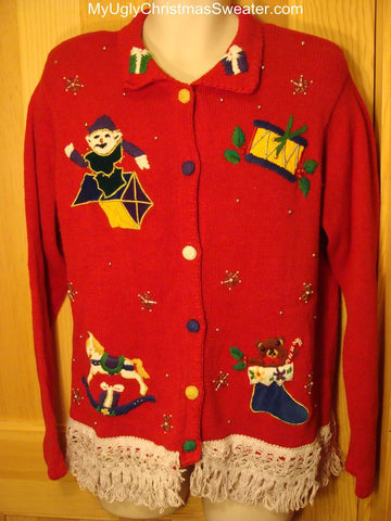 Ugly Christmas Sweater 80s Vintage with Padded Shoulders