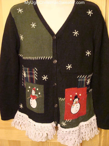 Ugly Christmas Sweater 2-sided with Snowmen
