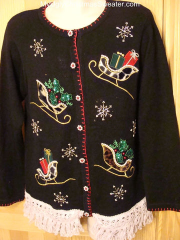 Ugly Christmas Sweater 2-sided Bling Sleighs