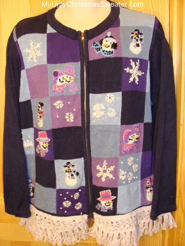 Ugly Christmas Sweater Purple Grid of Snowmen