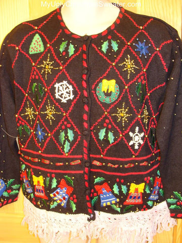 Ugly Christmas Sweater Grid of Crazy Bling Decorations