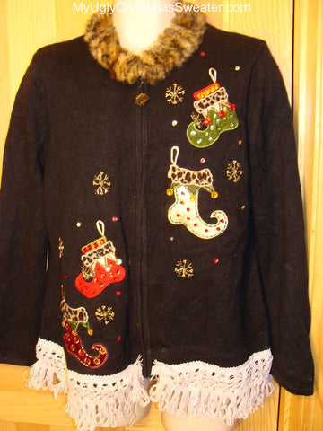 Ugly Christmas Sweater with Faux Fur Collar and Stocking Trim