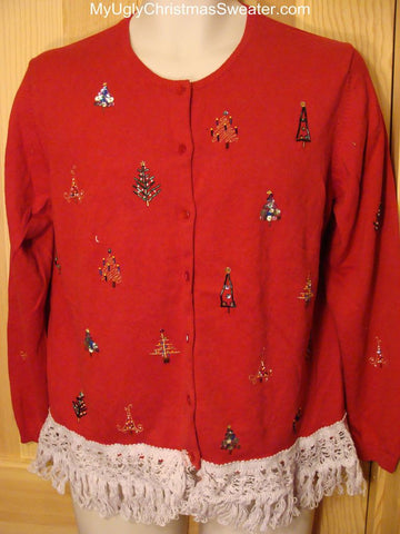 Ugly Christmas Sweater with bling beaded trees.