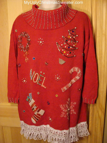 Ugly Christmas Sweater NOEL Bling Accents