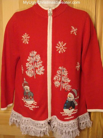 Ugly Red Christmas Sweater with Snowmen