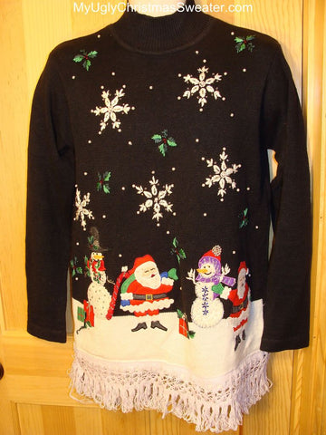 Ugly Christmas Sweater with Santa and Snowmen in a Winter Wonderland