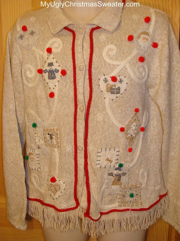 Ugly Christmas Sweater 3D Pom Poms and Fringe