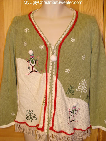 Ugly Green Christmas Sweater with Skiing Penguins