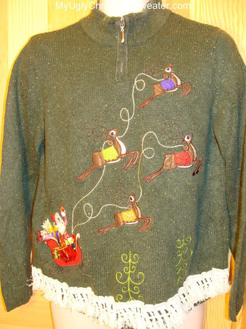 Ugly Green Christmas Sweater Santa and Reindeer