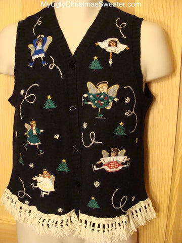 Ugly Christmas Sweater Vest Skating Angels