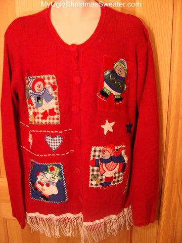 Ugly Red Christmas Sweater Crafty Snowmen Skating