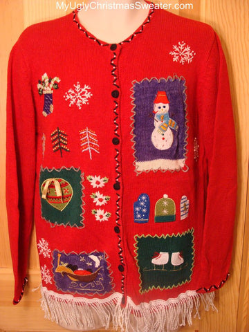 Ugly Red Christmas Sweater  with Snowman, Ornament, Sleigh, Skates