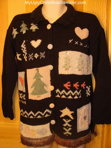 Ugly Christmas Sweater Vintage 80s Crafty and Tacky