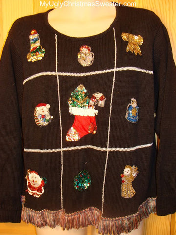 Ugly Christmas Sweater Sequin Bling 80s Vintage