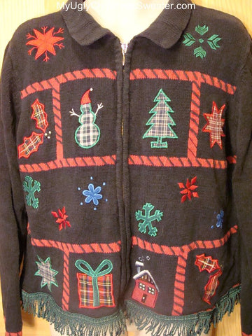 Ugly Christmas Sweater 2-sided Crafty Tacky and Hideous
