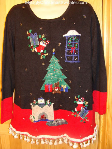 Ugly Christmas Sweater Tacky Tree & Fireplace