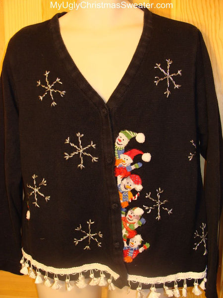 ee61c05e9bb5 Ugly Christmas Sweater creepy Snowman Peaking