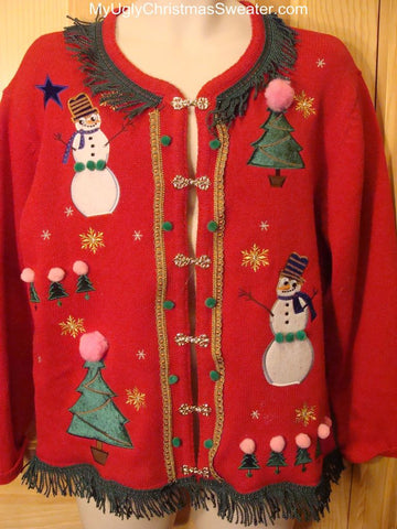 Ugly Christmas Sweater with Snowmen, Trees, and Fringe