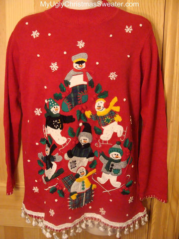 Ugly Red Christmas Sweater Snowman Pyramid