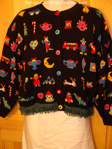Ugly Christmas Sweater 2-sided Front & Back Busy Tacky Designs