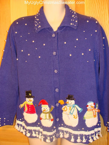 Ugly Christmas Sweater Bright Blue Sky with Snowmen