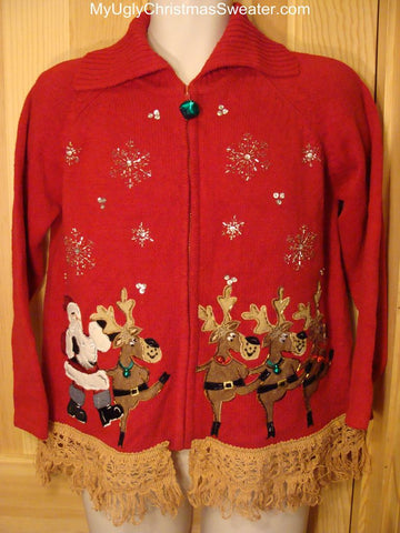 Ugly Christmas Sweater Dancing Reindeer & Santa 2-sided