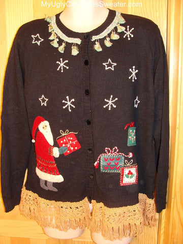 Ugly Christmas Sweater Santa & Presents Fringe