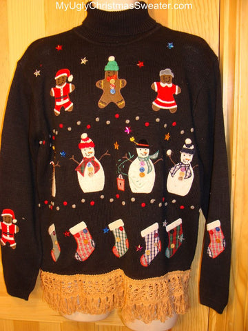 Ugly Christmas Sweater Snowmen Gingerbread Men, Bears, and Stockings