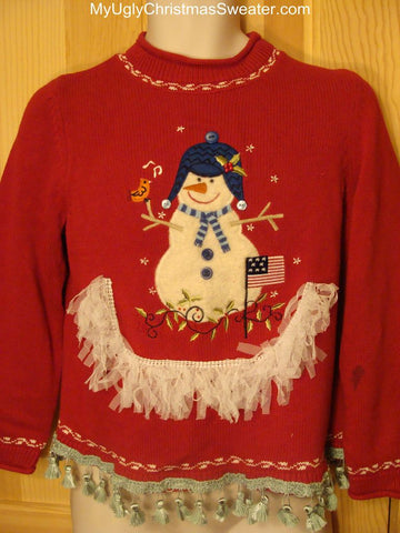Ugly Christmas Sweater Snowman Fluffy Fringe