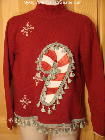 Ugly Christmas Sweater Candy Cane with Tassel Fringe