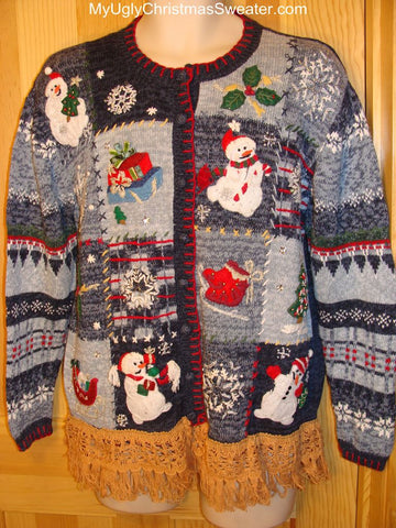 Ugly Christmas Sweater Festive Blue with Snowmen