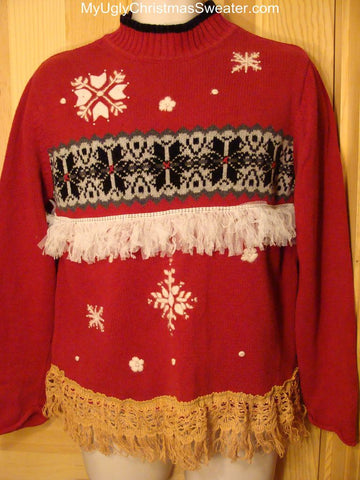 Ugly Christmas Sweater Festive Nordic Pattern with Fringe